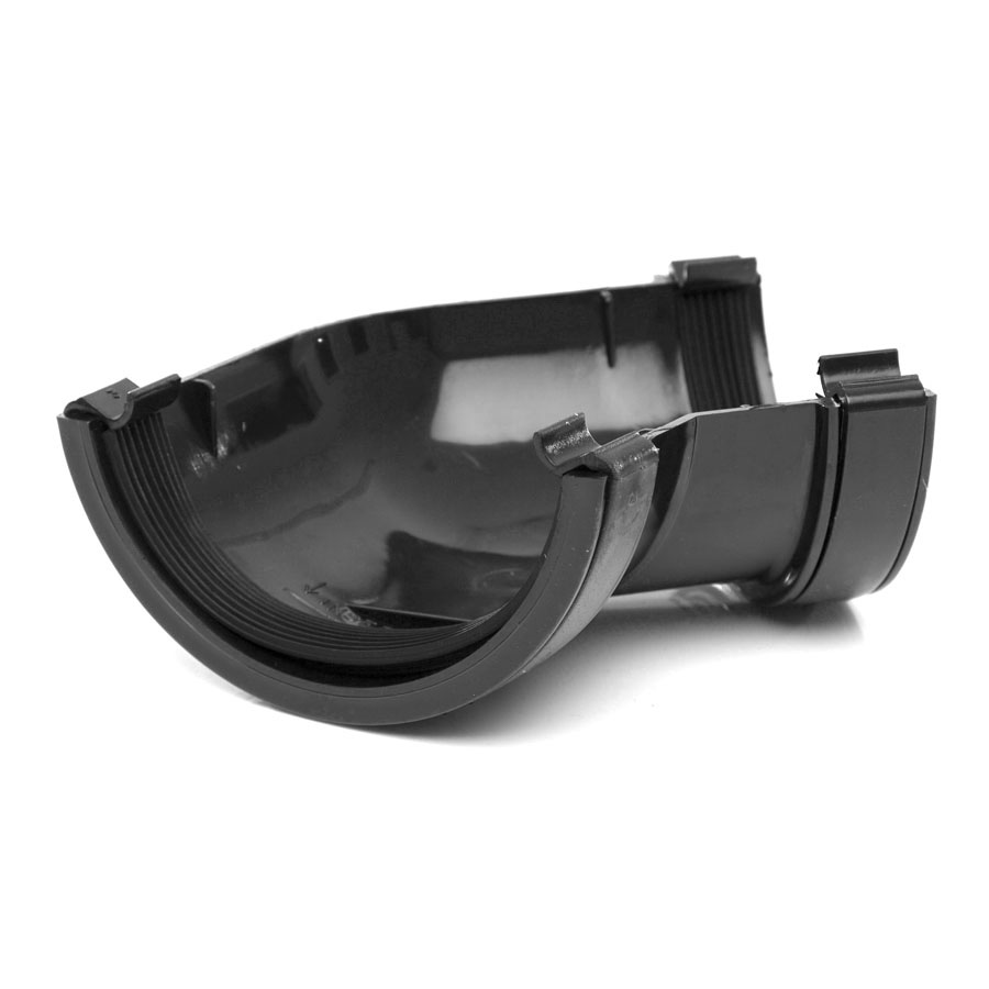 Polypipe Half Round Rainwater 112mm Gutter Angle 135° Black RR104 image 0