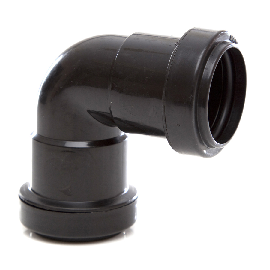 Polypipe Push-Fit Waste 32mm 90° Knuckle Bend Black WP15 image 0
