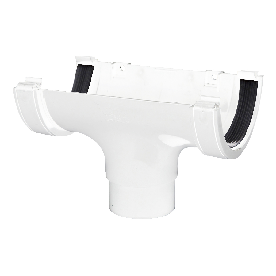 Polypipe Half Round Rainwater 112mm Gutter Run Outlet White RR105 image 0