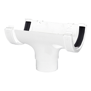 Polypipe Half Round Rainwater 112mm Gutter Run Outlet White RR105