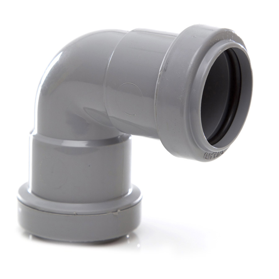 Polypipe Push-Fit Waste 32mm 90° Knuckle Bend Grey WP15 image 0