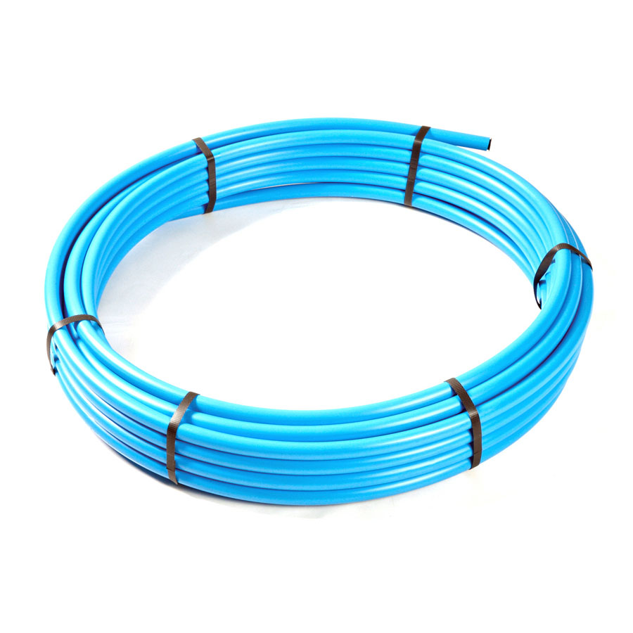 Blue Polyethylene MDPE BS6572 Underground Pipe 20mm x 50m Coil image 0