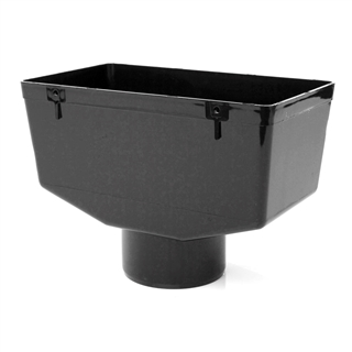 Polypipe Half Round Rainwater 150mm Hopper Head 280L x 157W x 145H Black RL140