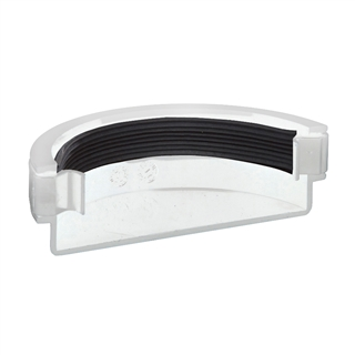 Polypipe Half Round Rainwater 112mm Gutter External Stop End White RR107