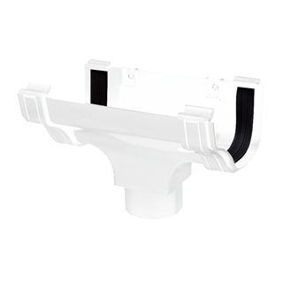 Polypipe Ogee Gutter 130mm x 70mm Running Outlet White ROG05