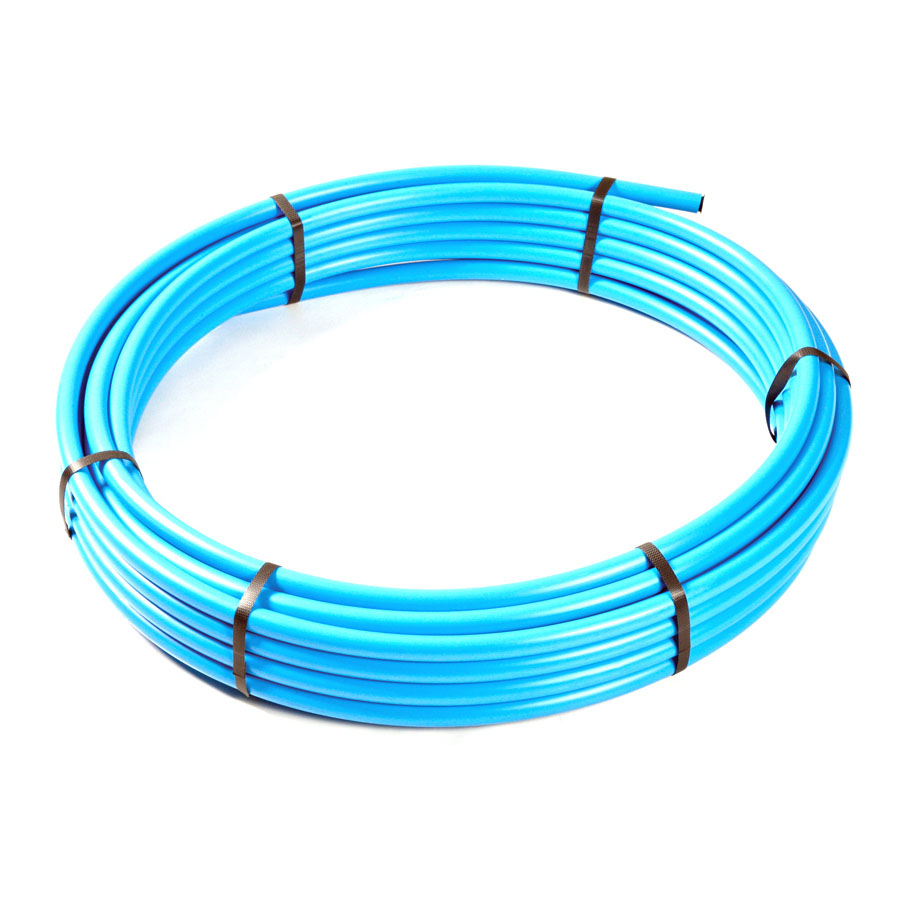 Blue Polyethylene MDPE BS6572 Underground Pipe 25mm x 100m Coil image 0