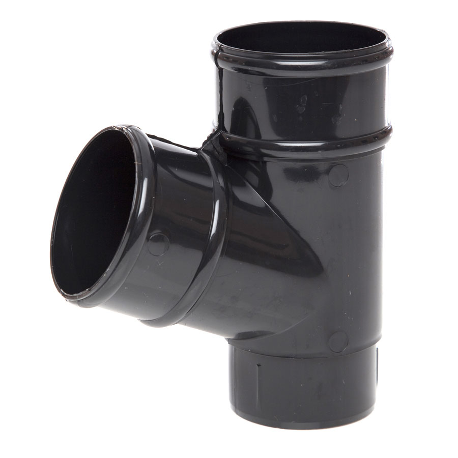 Polypipe Rainwater Round Pipe 68mm 112½° Branch White RR129 image 0