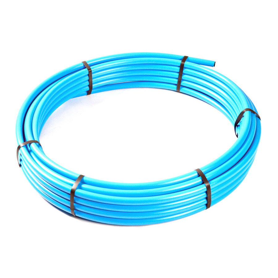 Blue Polyethylene MDPE BS6572 Underground Pipe 32mm x 25m Coil image 0