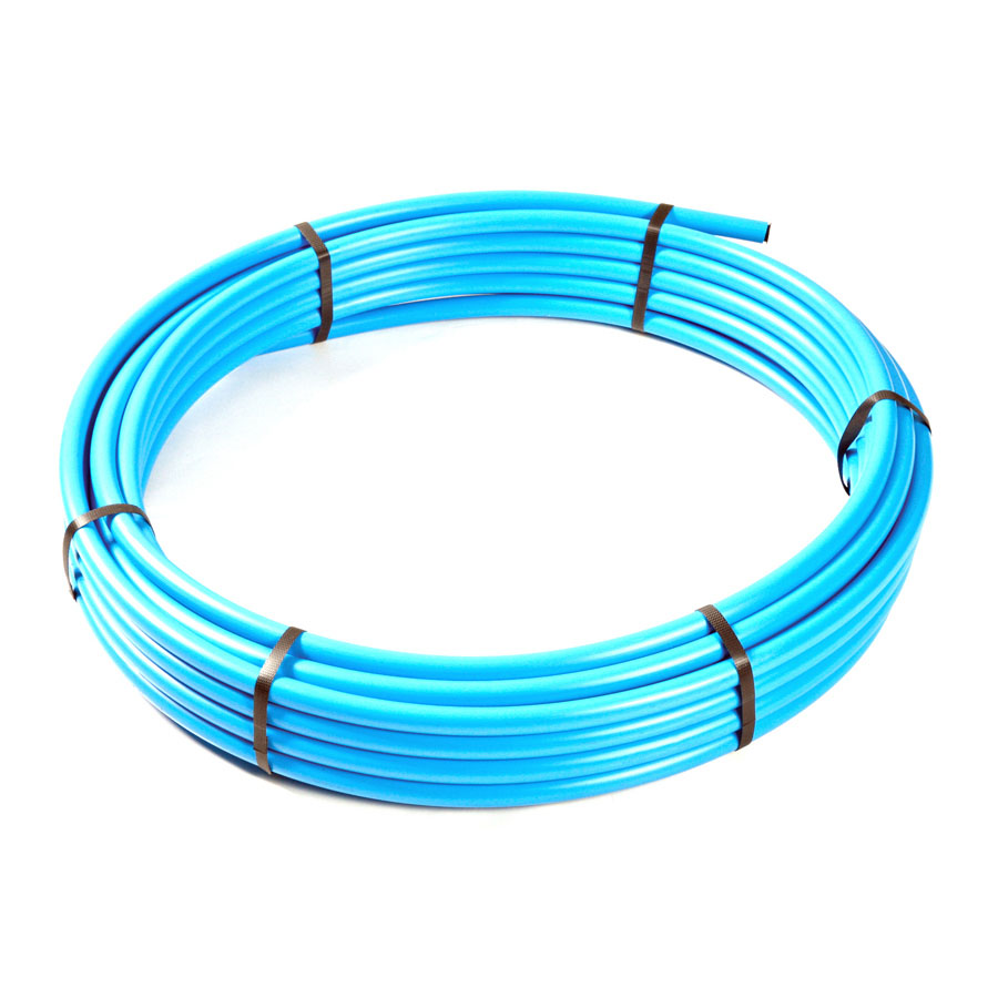 Blue Polyethylene MDPE BS6572 Underground Pipe 32mm x 50m Coil image 0