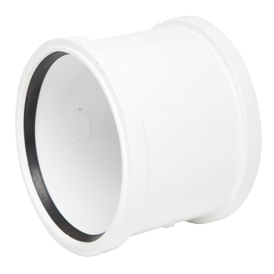 Polypipe Soil & Vent 110mm Double Socket White SH44 image 0