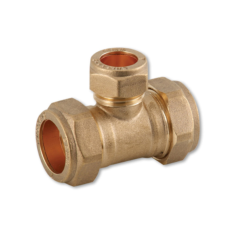 Compression Fitting Reducing Tee 22mm x 22mm x 15mm image 0