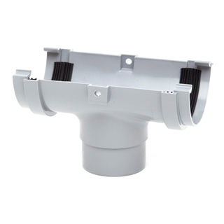 Polypipe Half Round Rainwater 75mm Gutter Running Outlet Grey RM305