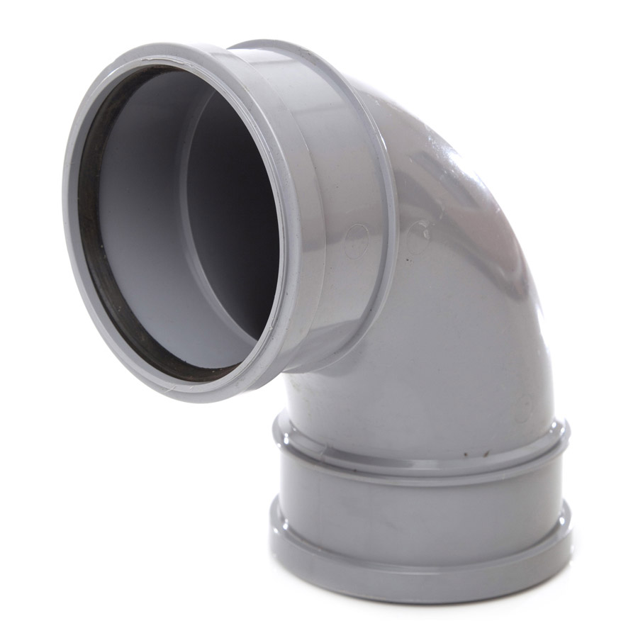 Polypipe Soil & Vent 110mm 92½° Double Socket Bend Grey SB417 image 0