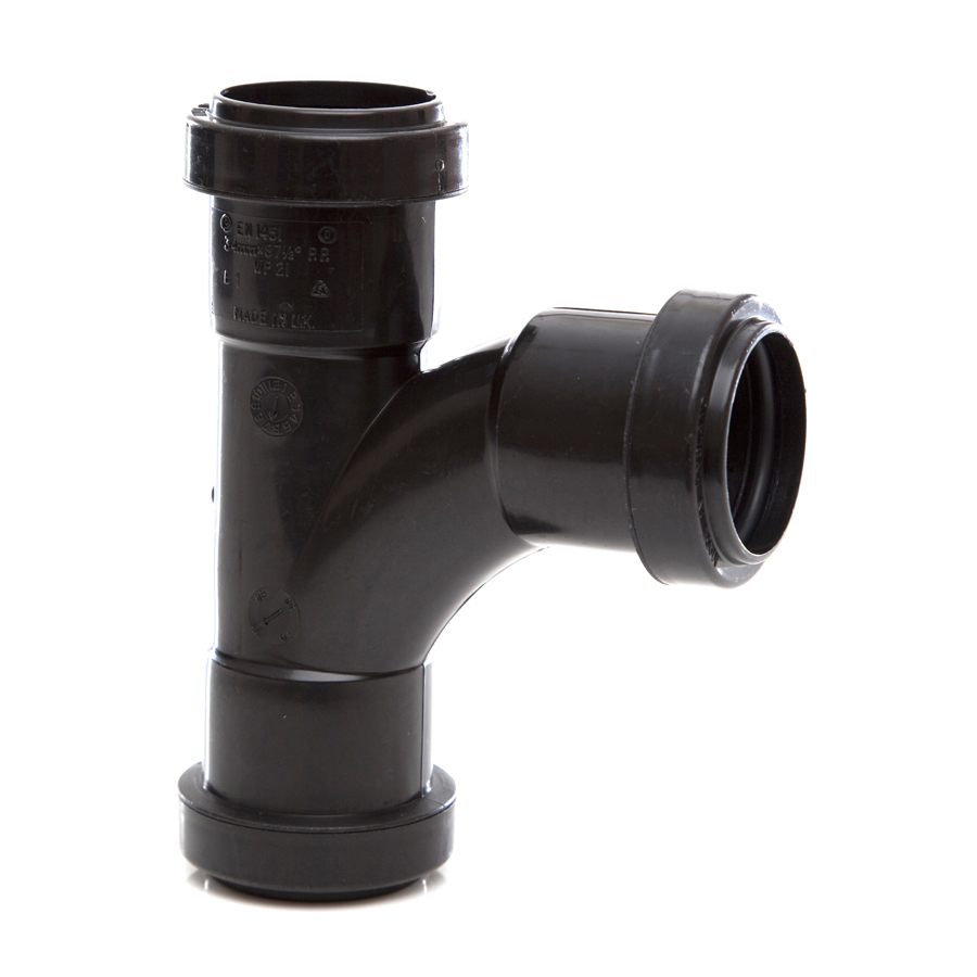 Polypipe Push-Fit Waste 32mm 91¼° Swept Tee Black WP21 image 0