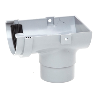 Polypipe Half Round Rainwater 75mm Gutter Stop End Outlet Grey RM306
