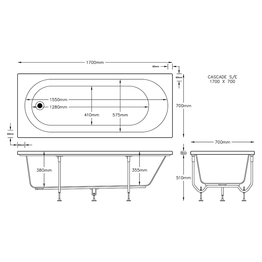 Cascade Single Ended Bath 1700mm x 700mm (2 Taphole) 5mm Thick image 2