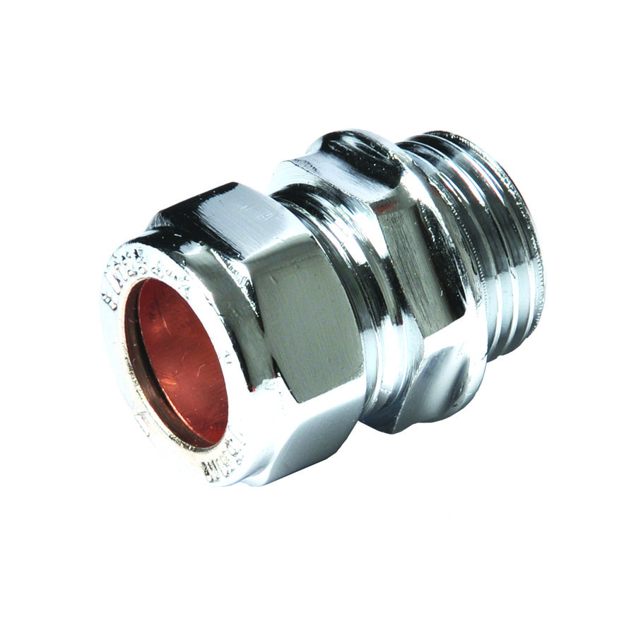 """Compression Fitting Straight Connector 15mm x ½"""" MI Chrome image 0"""