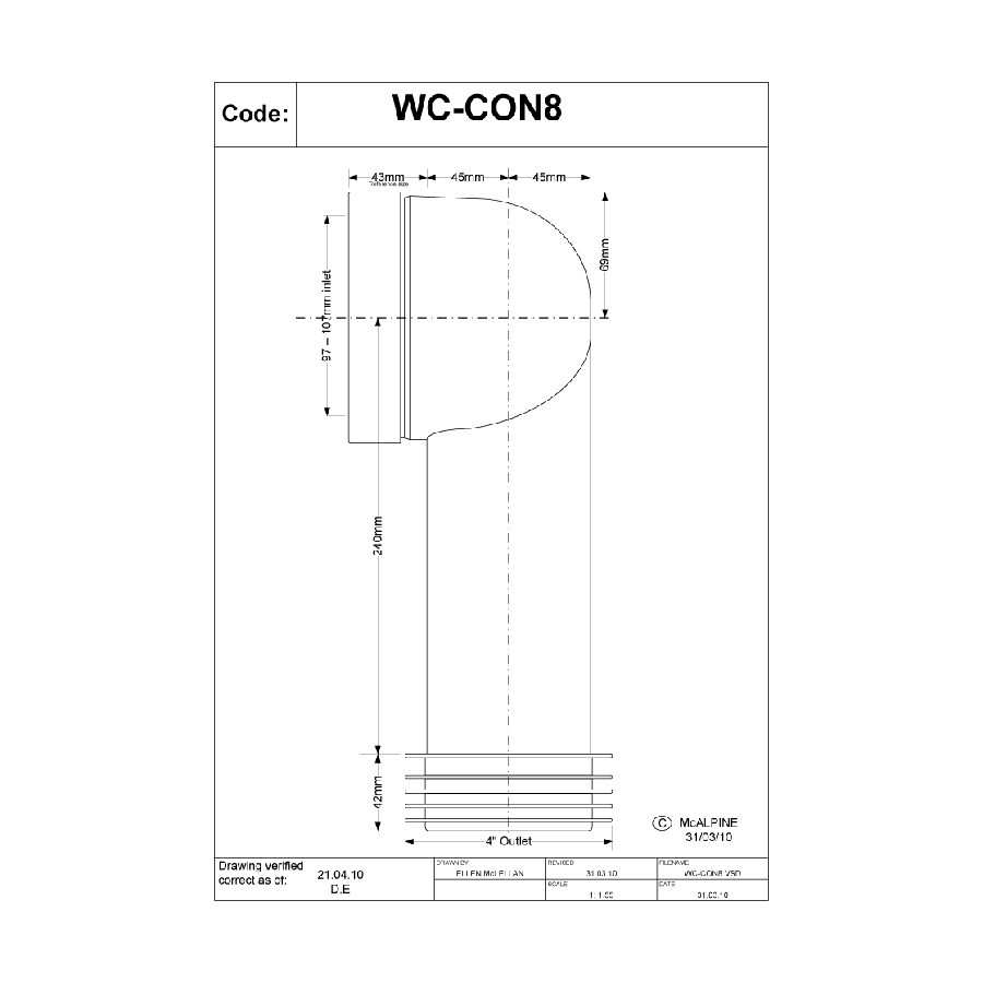 McAlpine WC-CON8 90° 110mm Pan Connector image 1