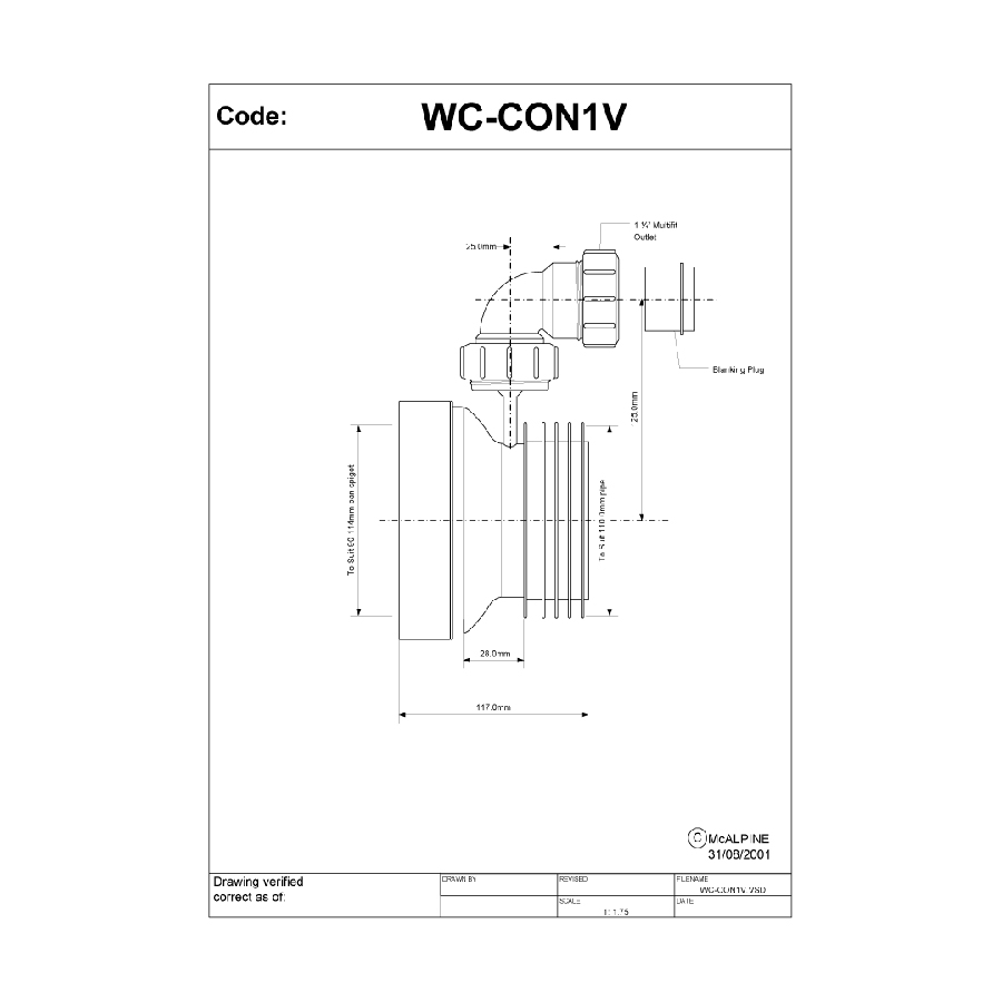 McAlpine WC-CON1V 110mm Straight Pan Connector with Vent Boss image 1