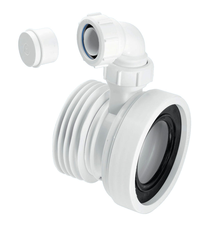 McAlpine WC-CON1V 110mm Straight Pan Connector with Vent Boss image 0