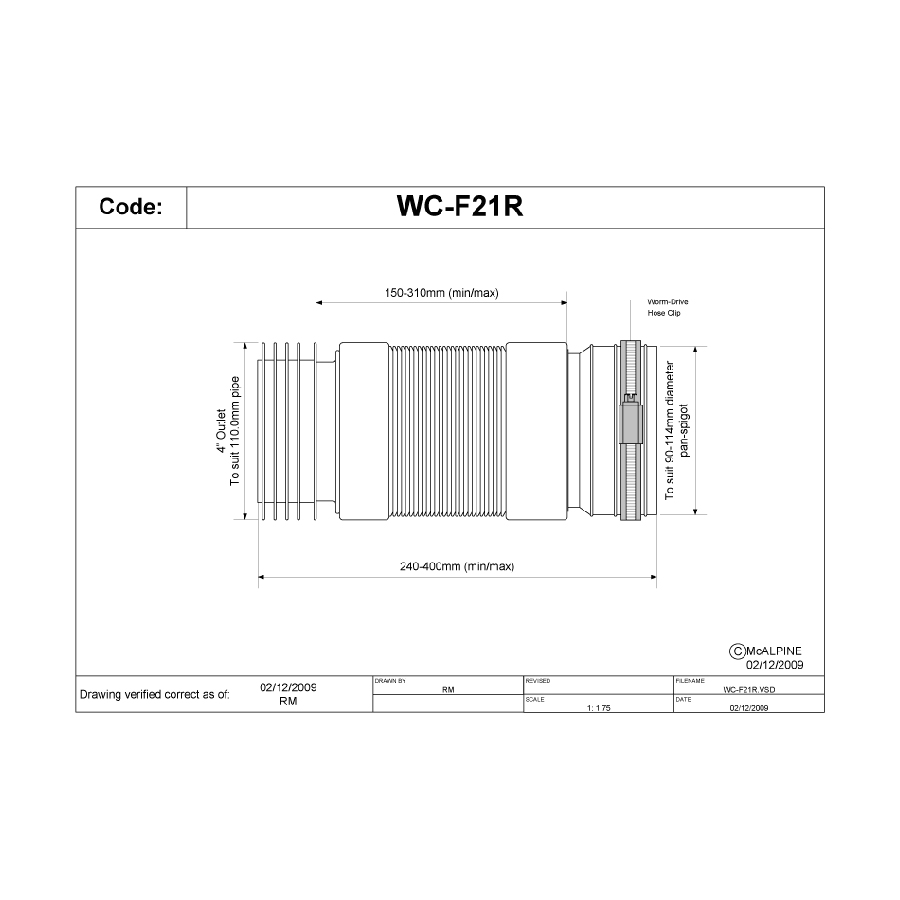 McAlpine WC-F21R Flexible Pan Connector For Back To The Wall Pan image 1