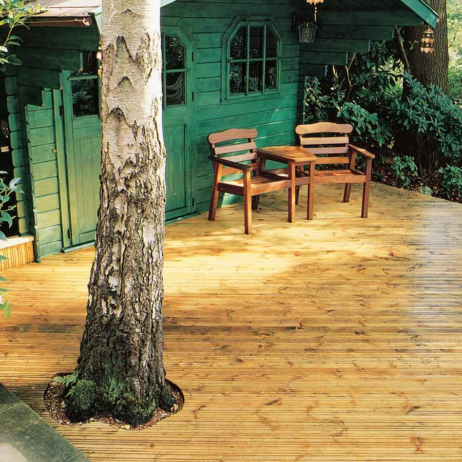 Timber Decking Treated 32mm x 150mm (27mm x 145mm Finished Size) image 1
