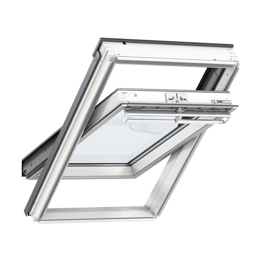 VELUX 550mm x 780mm White Painted Finish Centre Pivot Roof Window GGL CK02 2070 image 0