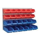 Faithfull Plastic Storage Bins with Metal Wall Panel (24 Pieces)