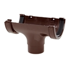 Polypipe Half Round Rainwater 112mm Gutter Run Outlet Brown RR105