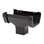 Polypipe Square Rainwater 112mm Gutter Running Outlet Black RS205