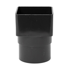 Polypipe Square Rainwater 65mm Square to Round Adapter Black RS231