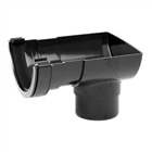 Polypipe Half Round Rainwater 112mm Short Stop End Outlet to 68mm Round Downpipe Black RR106