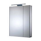 Slimline Double Door Aluminium Cabinet with Overhead LED Lighting 615mm x 700mm x 100mm