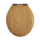 Oak Soft Close Toilet Seat with Chrome Bar Hinge ITS020