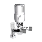 15mm Angled Thermostatic Radiator Valve White/Chrome (Twin Pack)